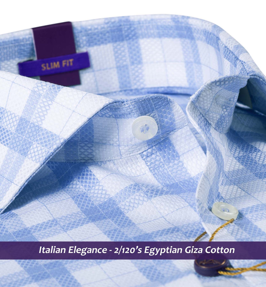 HUESCA- BLUE & WHITE DOBBY CHECK- 2/120 EGYPTIAN GIZA COTTON
