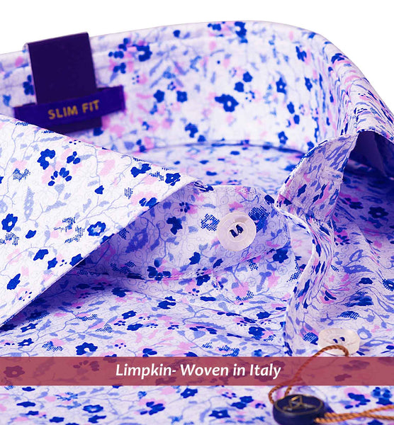 ANTWERP- BLUE & PINK MAGICAL FLORAL PRINT- SLIM/REGULAR FIT
