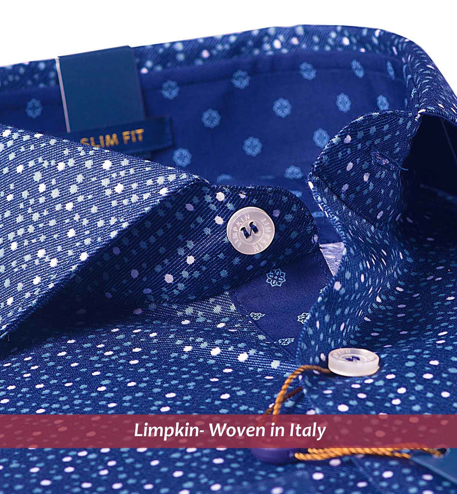 HANOI- DEEP BLUE MAGICAL DOTTED PRINT- SLIM/REGULAR FIT