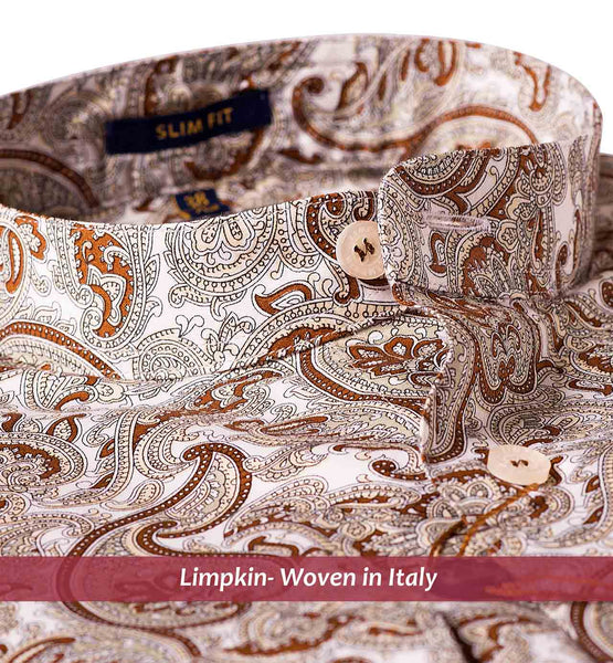 KAMARI- BEIGE & BROWN PAISLEY PRINT- Delivery from 15th August