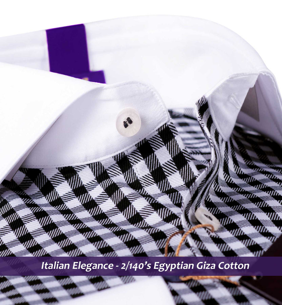 Vasco- Black & White Gingham Check- 2/140 Egyptian Giza Cotton- Delivery from 28th Sep