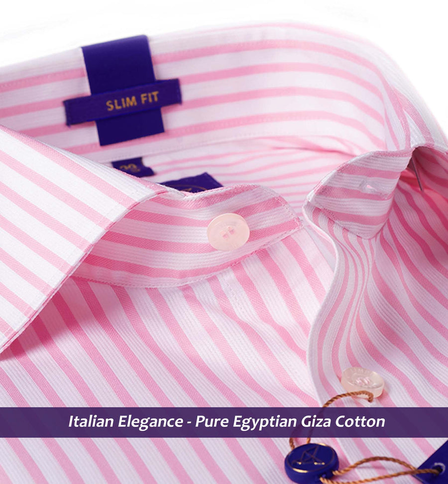 LUGANO- PINK & WHITE MAGICAL FORMAL STRIPE