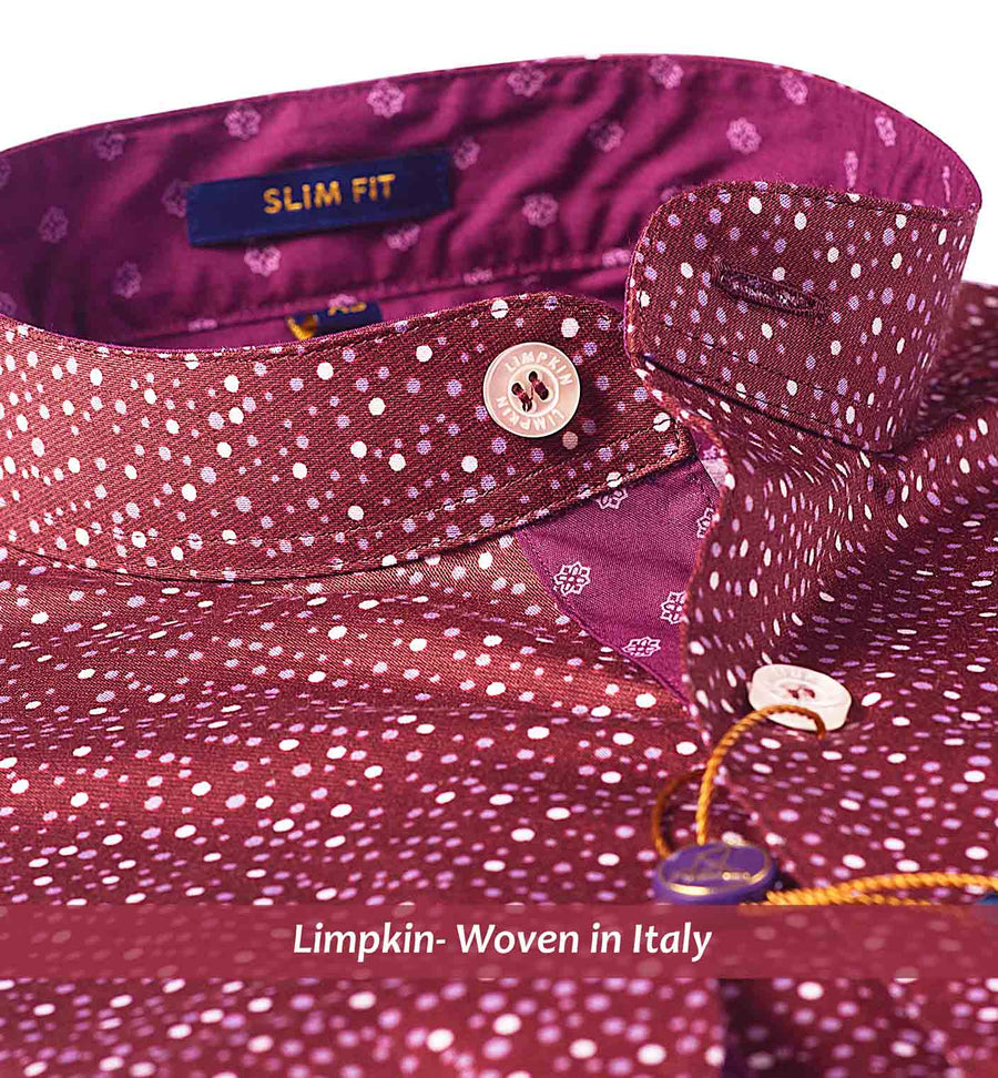 LINDOS- BURGUNDY MAGICAL DOTTED PRINT- SLIM/REGULAR FIT