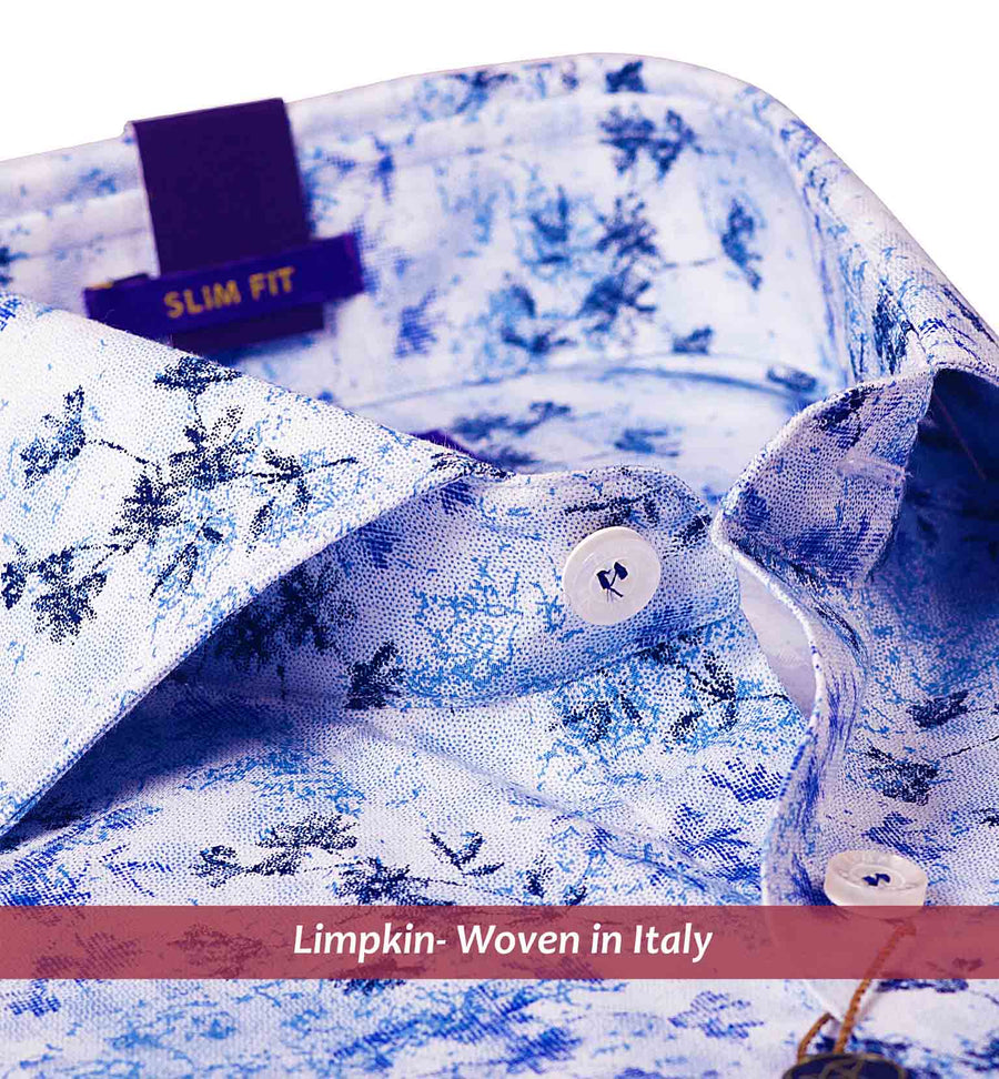WARSAW- NAVY & SKY BLUE MAGICAL FLORAL PRINT- SLIM/REGULAR FIT