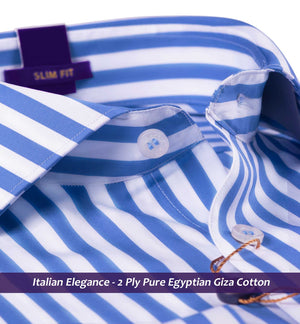 Cortland- Cobalt Blue & White Magical Stripe