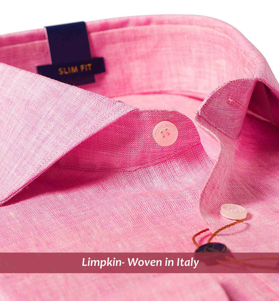 TURIN- FLAMINGO PINK PURE LINEN IN 60's LEA- SLIM FIT
