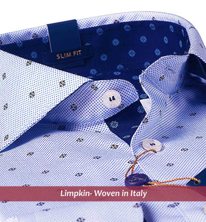 Navy Polka Dot Print- Buy Online Premium Shirts- Woven In Italy