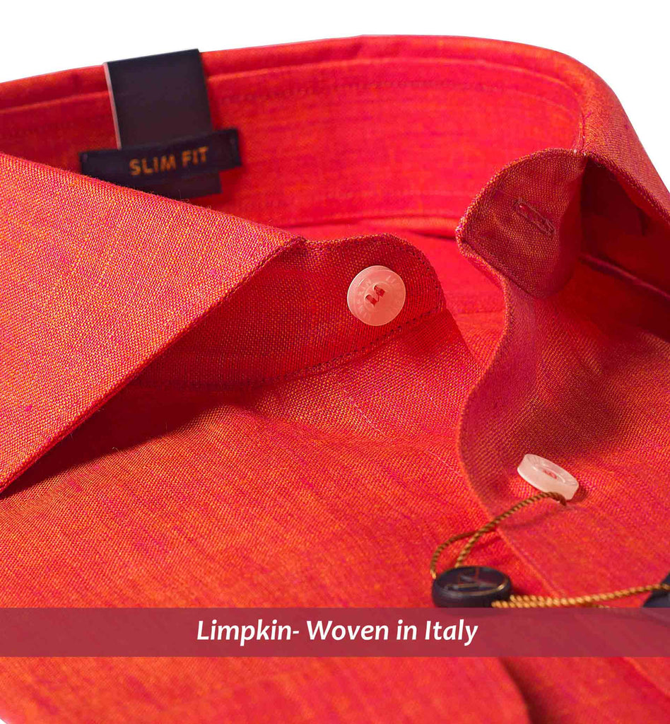 OLYMPIA- CORAL RED PURE LINEN IN 60's LEA- SLIM FIT