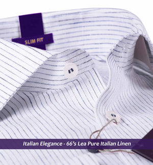 Navy Blue & White Pin Stripe- Pure Linen in 66 Lea- Buy Online Shirts
