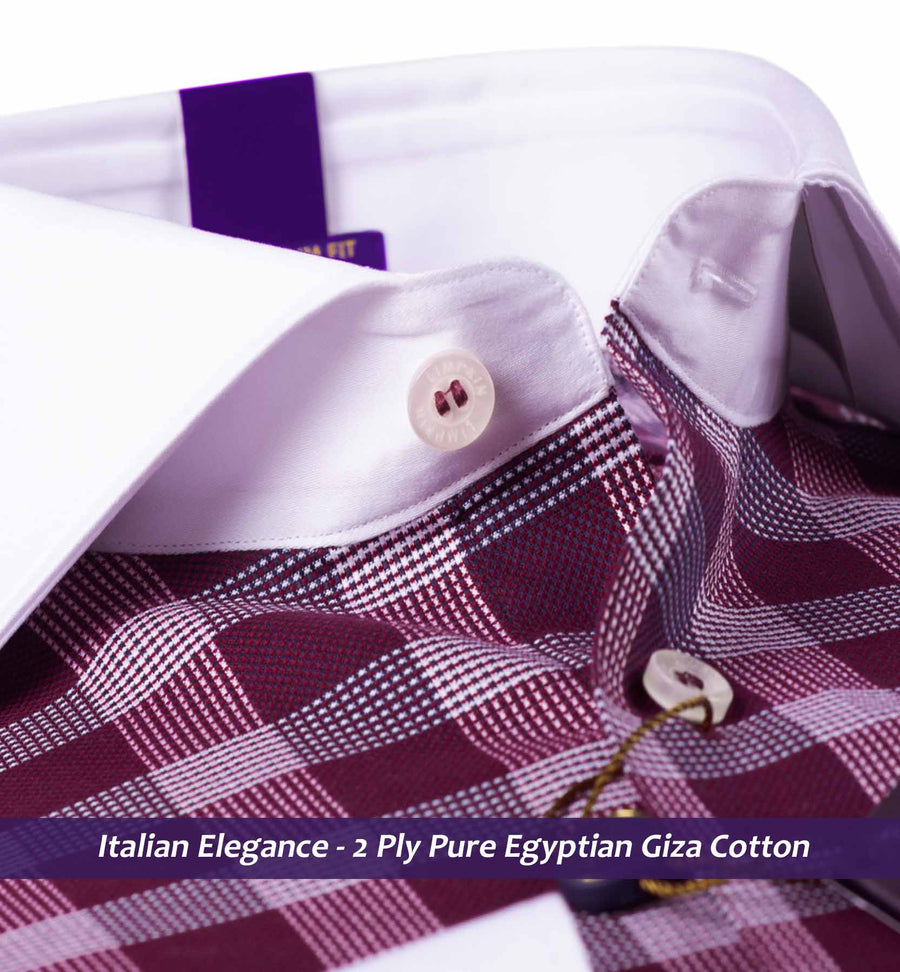 Windsor- Burgundy Check with White Collar- 2 Ply Pure Egyptian Giza Cotton