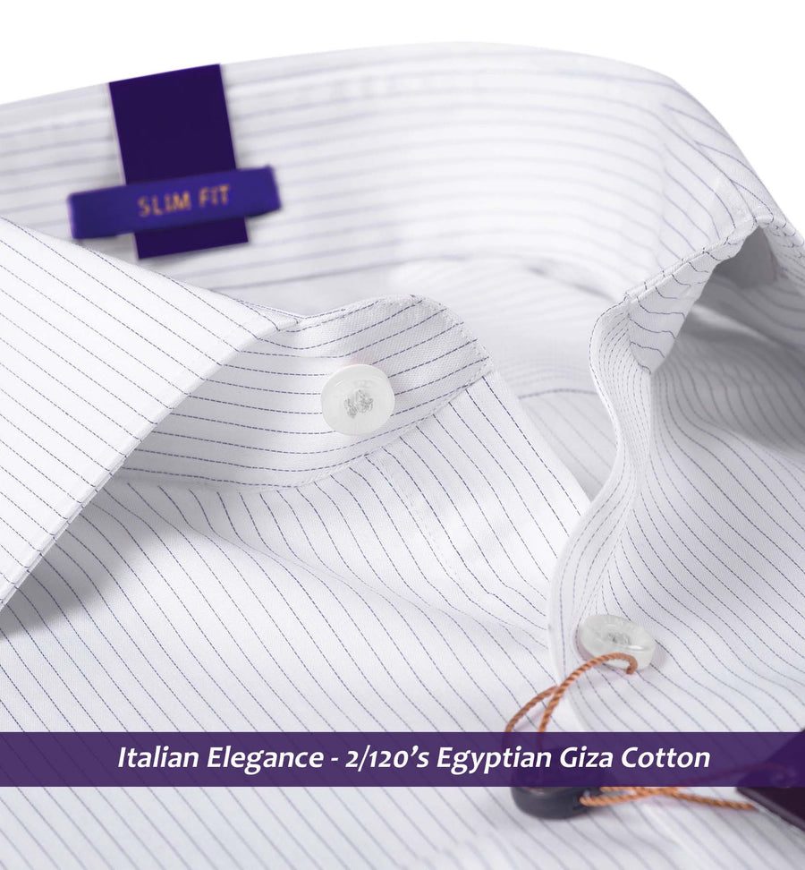 Cupertino- Navy & White Magical Pin Stripe- 2/120 Egyptian Giza Cotton