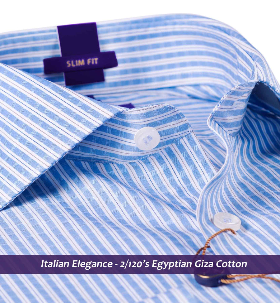 Gloucester- Oxford Blue & Beige Formal Check- 2/120 Egyptian Giza Cotton