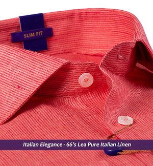 SOHO- CORAL RED MAGICAL STRIPE- 66's LEA PURE ITALIAN LINEN