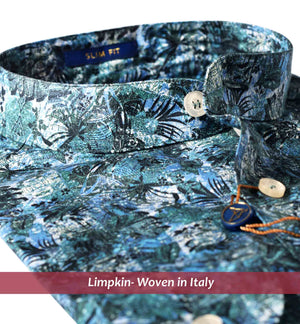 Floral Print Shirt in Teal- Buy Online Premium Shirts- Woven In Italy