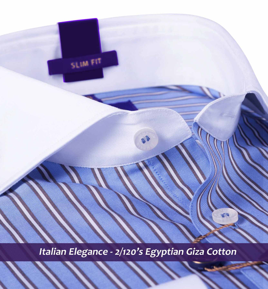 Piccadilly- Oxford Blue Stripe with White Collar