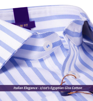 Beverly- Oxford Blue & White Stripe-Buy Online Premium Shirts- Italian
