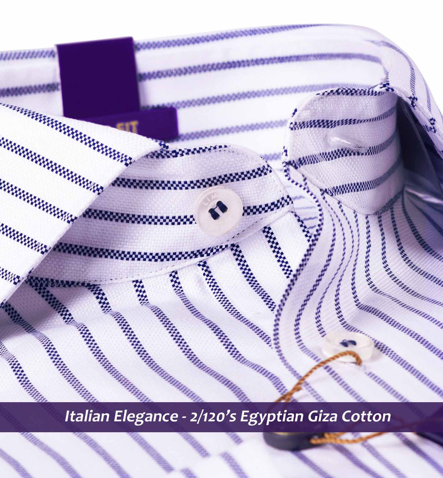 Irvine- Navy & White Magical Stripe- 2/120 Egyptian Giza Cotton