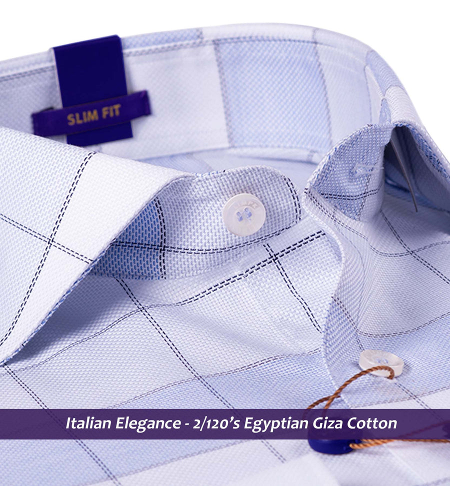 PAMPLONA- BLUE & WHITE CHECK- 2/120 EGYPTIAN GIZA COTTON