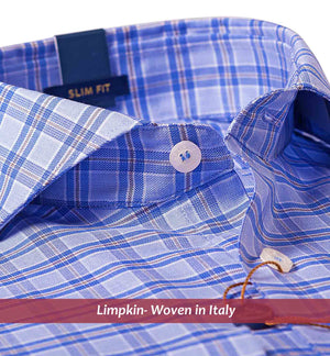 Blue & Beige Check Shirt- Buy Online Premium Shirts- Woven In Italy