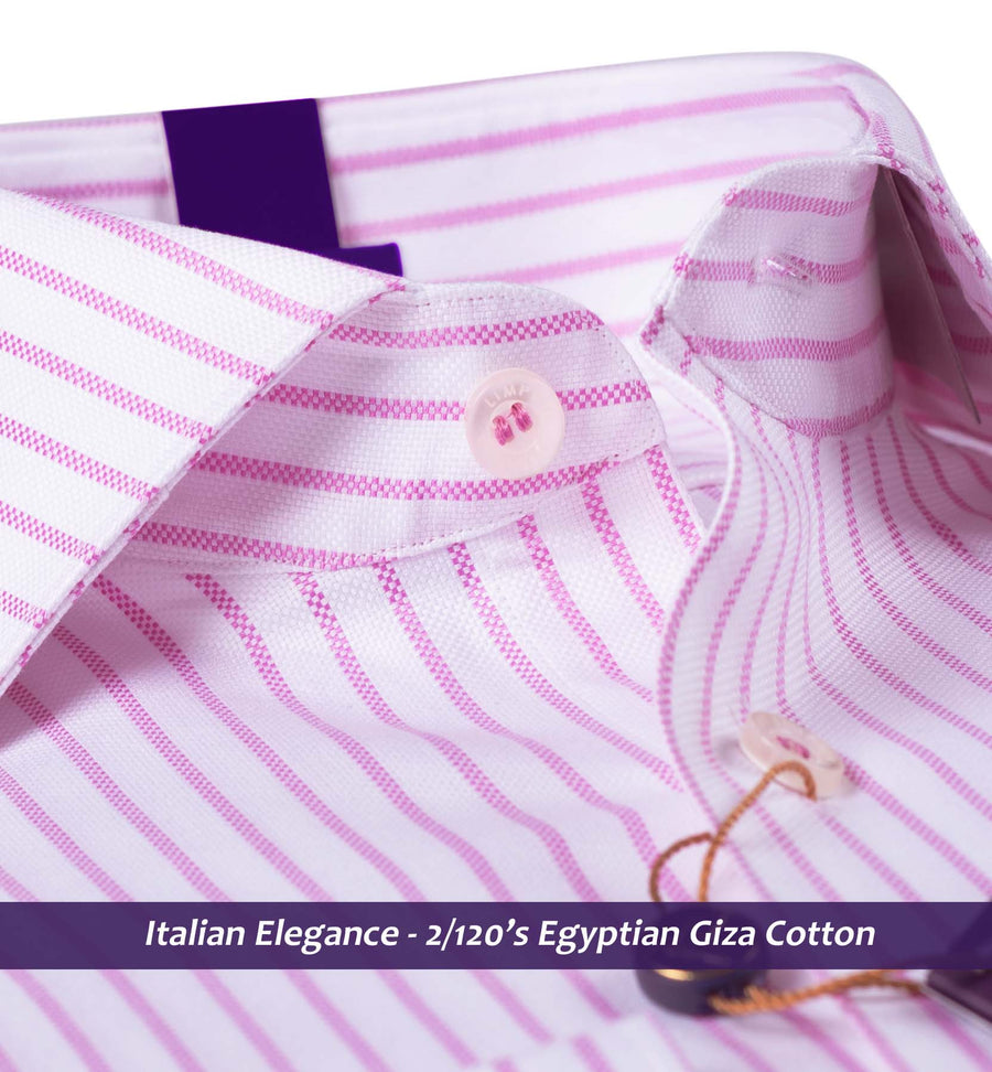 Torrance- Taffy Pink & White Magical Stripe- 2/120 Egyptian Giza Cotton