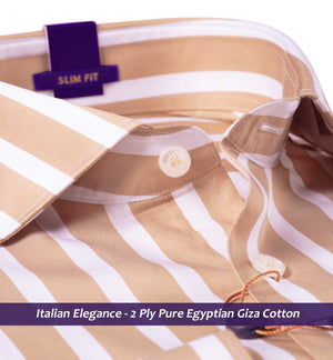 British Tan & White Stripe- Buy Online Premium Shirts-Italian Elegance