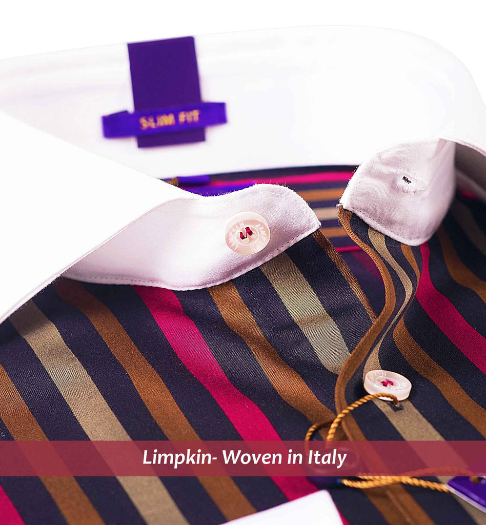 MONTREAL- BEIGE & BURGUNDY STRIPE WITH WHITE COLLAR