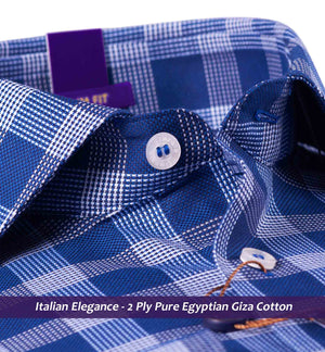 Moncton- Navy Blue & White Check- Buy Online Premium Shirts- Italian