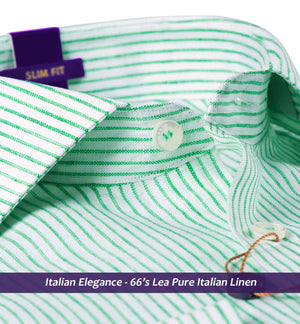 Emerald Green & White Stripe- Pure Linen in 66 Lea- Buy Online Shirts
