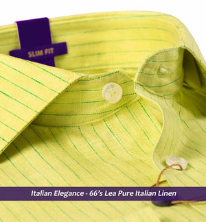 Lime Green & Emerald Stripe- Pure Linen in 66 Lea- Buy Online Shirts