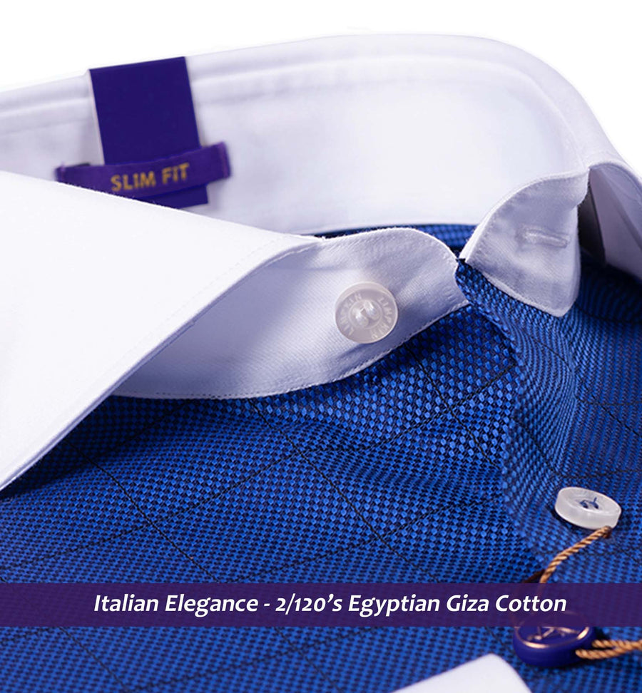 LOGRONO- ROYAL BLUE CHECK WITH WHITE COLLAR