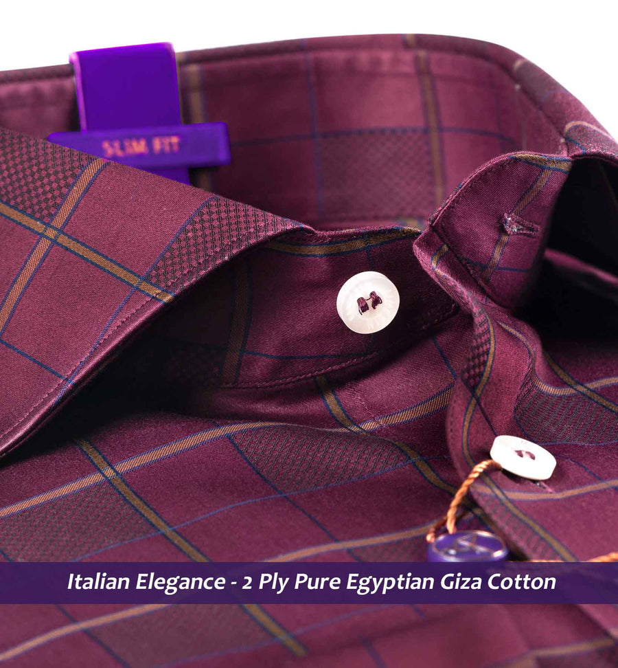 Pablo- Burgundy & Olive Magical Check- 2 Ply Pure Egyptian Giza Cotton