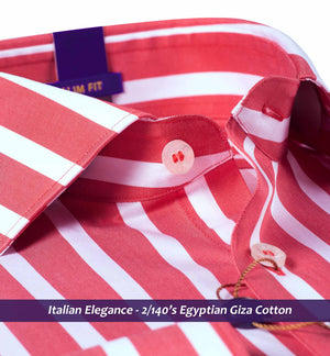 Bilbao- Coral Red Magical Stripe- 2/140 Egyptian Giza Cotton- Delivery from 28th March