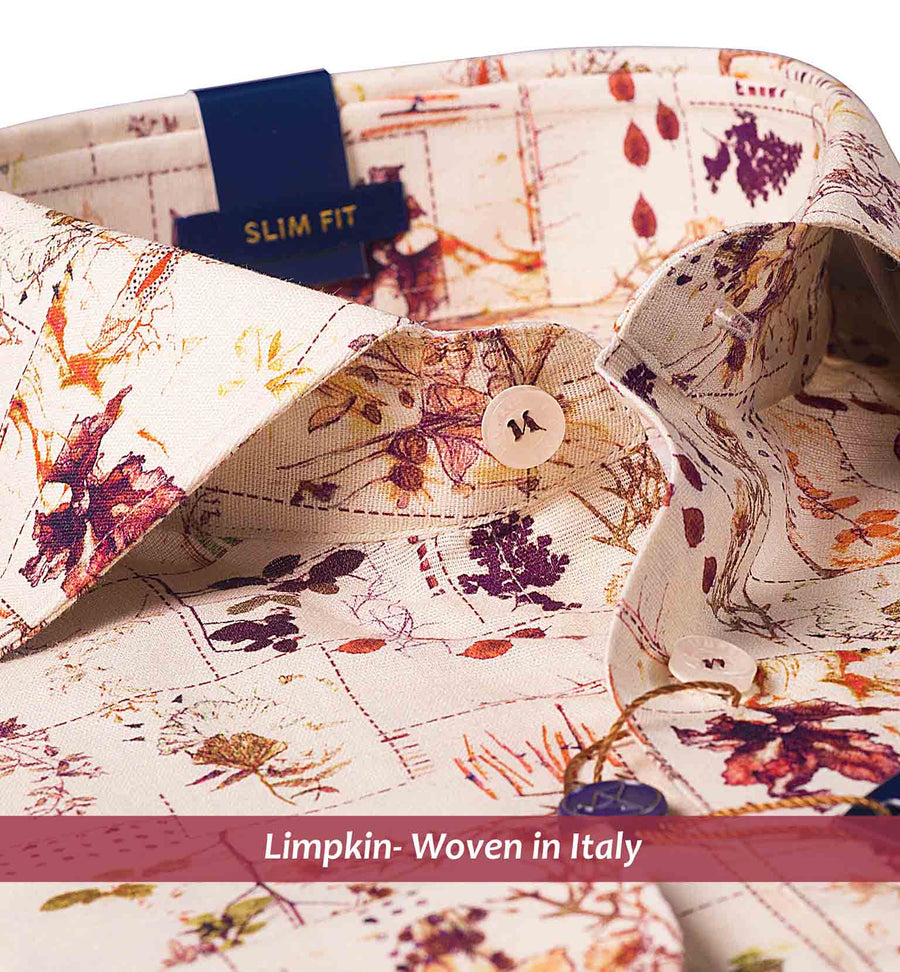 LAGOS- BEIGE & BURGUNDY FOLIAGE PRINT IN COTTON/LINEN- SLIM/REGULAR FIT
