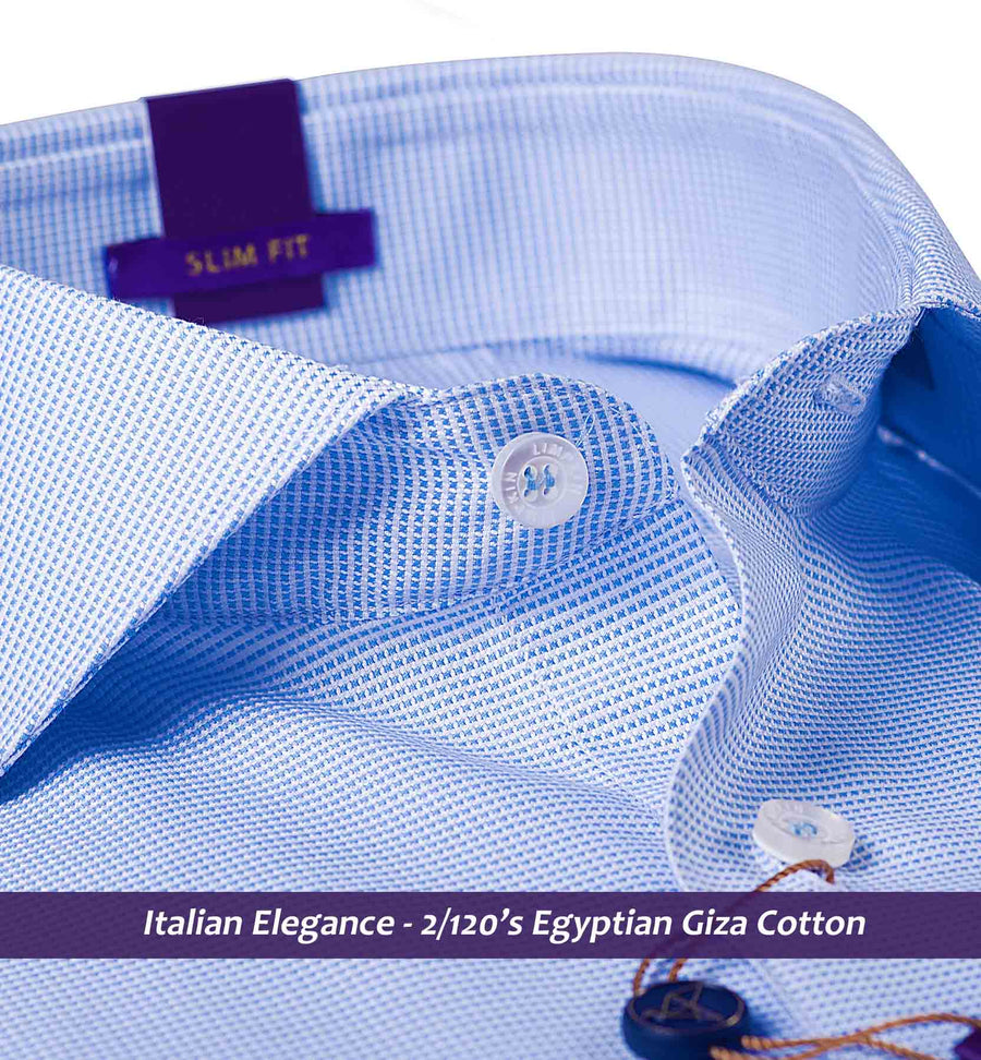 Fresno- Best Formal Azure Blue Structure- 2/120 Egyptian Giza Cotton