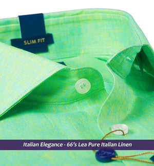 Rosenstein-Sea Foam Green Linen-Pure Linen in 66 Lea-Buy Online Shirts
