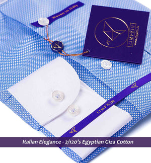 Republica- Blue Structure with White Collar- 2/120 Egyptian Giza Cotton