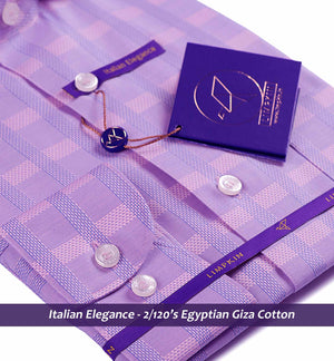 Loreto- Pink & Blue Magical Check- 2/120 Egyptian Giza Cotton