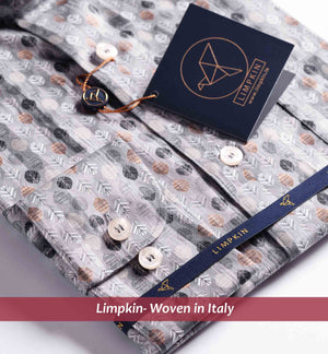 Nature Print Grey Shirt- Buy Online Premium Shirts- Woven In Italy