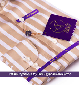 Vaughan- British Tan & White Magical Stripe- 2 Ply Pure Egyptian Giza Cotton