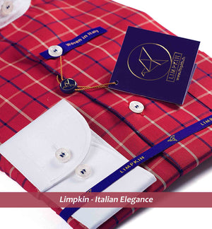 OKLAHOMA- BRICK RED & NAVY CHECK & WHITE COLLAR