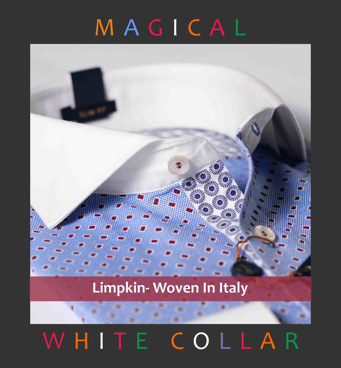 Slim fit shirt in Blue structure with magical dotted burgundy print