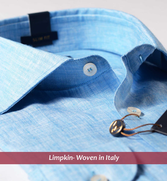 GENOA- BLUE PURE LINEN IN 60's LEA- Delivery from 24th May
