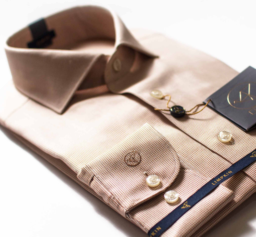 Fabric- Woven in Italy, Beige micro structure pattern shirt