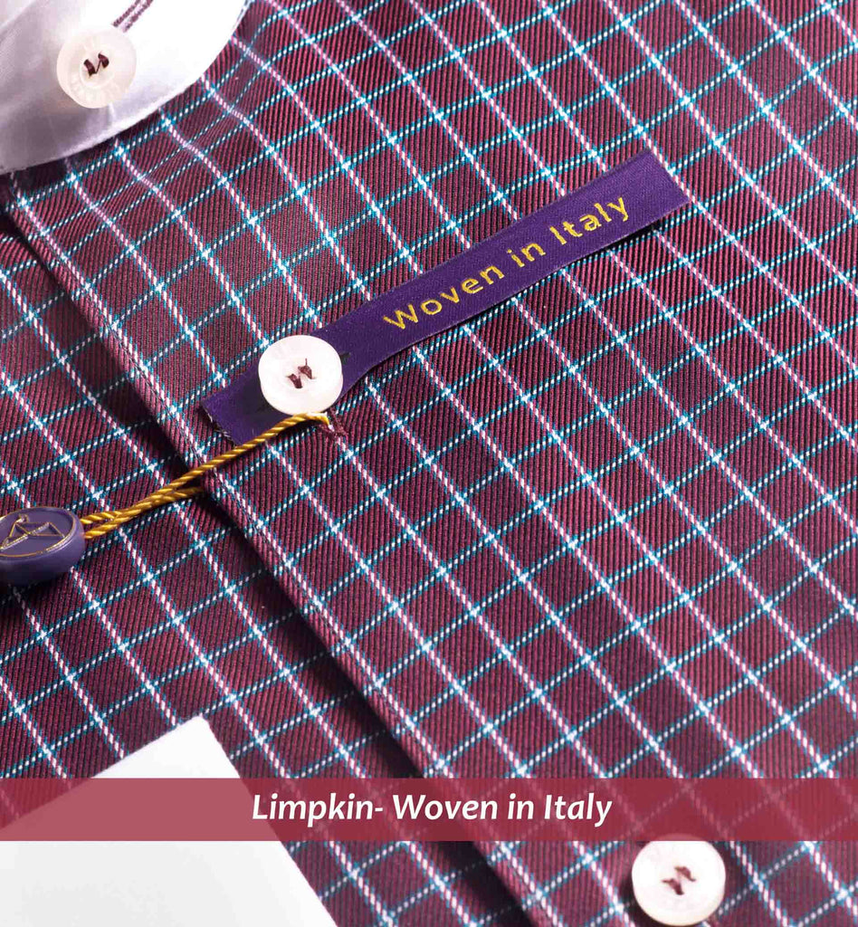 CAMBRIDGE- BURGUNDY MICRO CHECK WITH WHITE COLLAR- PURPLE EDITION