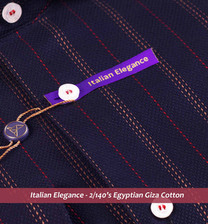 California- Dark Navy & Burgundy Magical Stripe- 2/140 Egyptian Giza Cotton- Delivery from 6th July