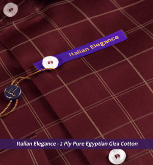 Rosewood Burgundy & Beige Check- 2 Ply Pure Egyptian Giza Cotton