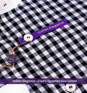 Black & White Gingham Check- 2/140 Egyptian Giza Cotton