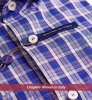 ALMADA- NAVY CHECK WITH PRINT CONTRAST