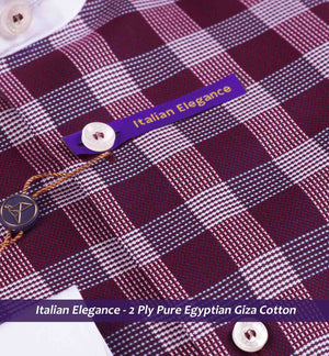 Burgundy Check with White Collar- 2 Ply Pure Egyptian Giza Cotton