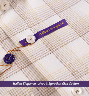 FRONTERA- GOLDEN BEIGE MAGICAL CHECK- 2/100 EGYPTIAN GIZA COTTON